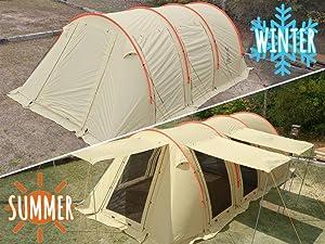 DOPPELGANGER(ドッペルギャンガー) アウトドア カマボコテント2 設営簡単 4~5人用 T5-489 夏は涼しく、冬は暖かいオールシーズン仕様