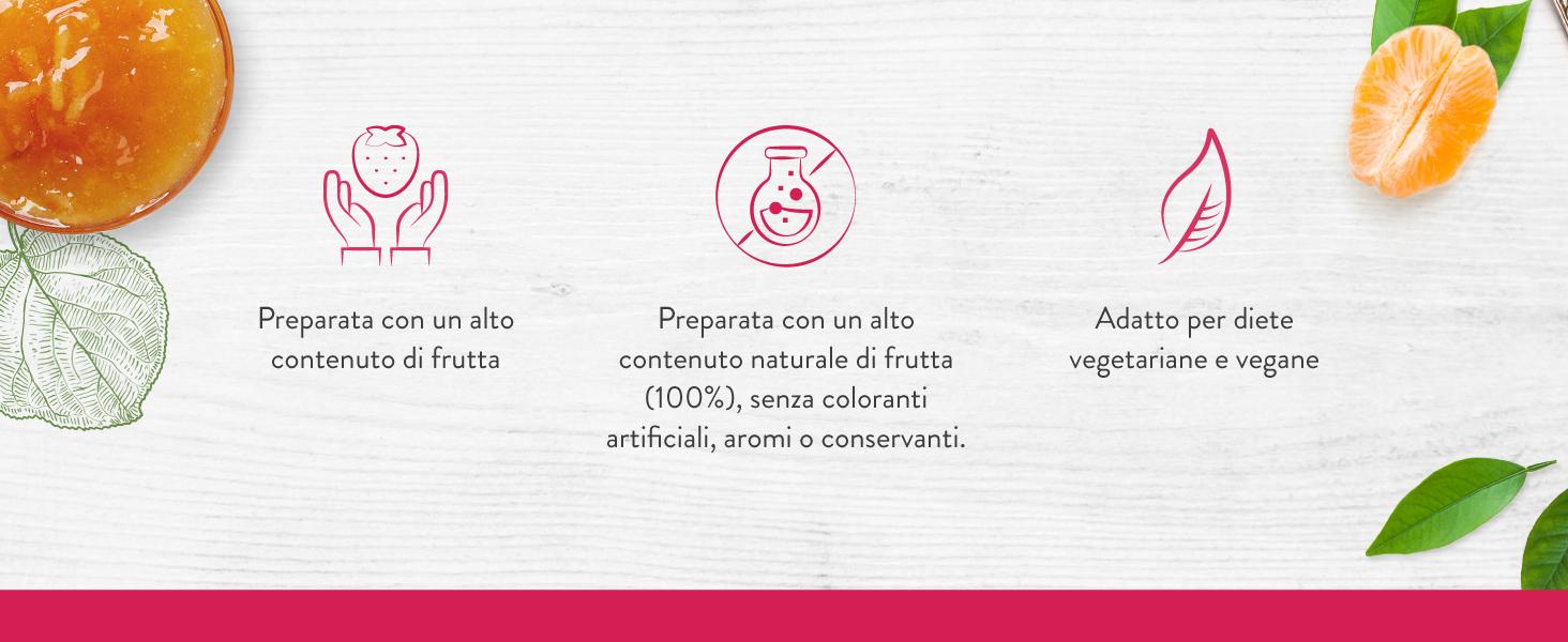 Preparata con un alto contenuto naturale di frutta (100%), senza coloranti artificiali, aromi