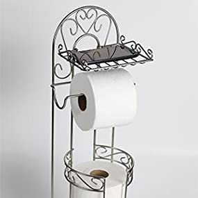 mclee creations free standing toilet paper holder with phone shelf for bathroom