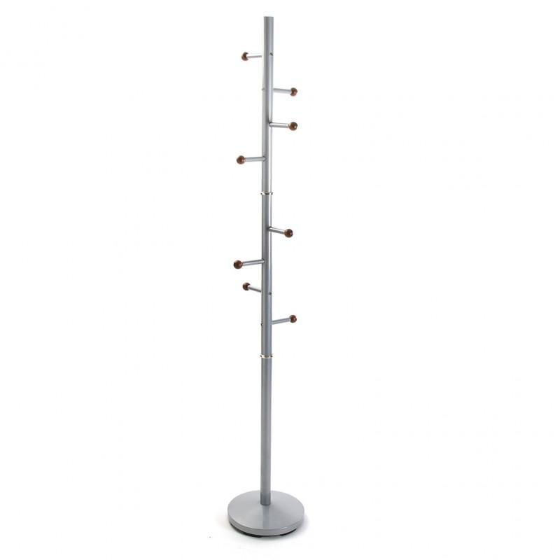Versa Ruan Perchero de pie, Metal Lacado, Plateado, 173 x 28 x 28 cm