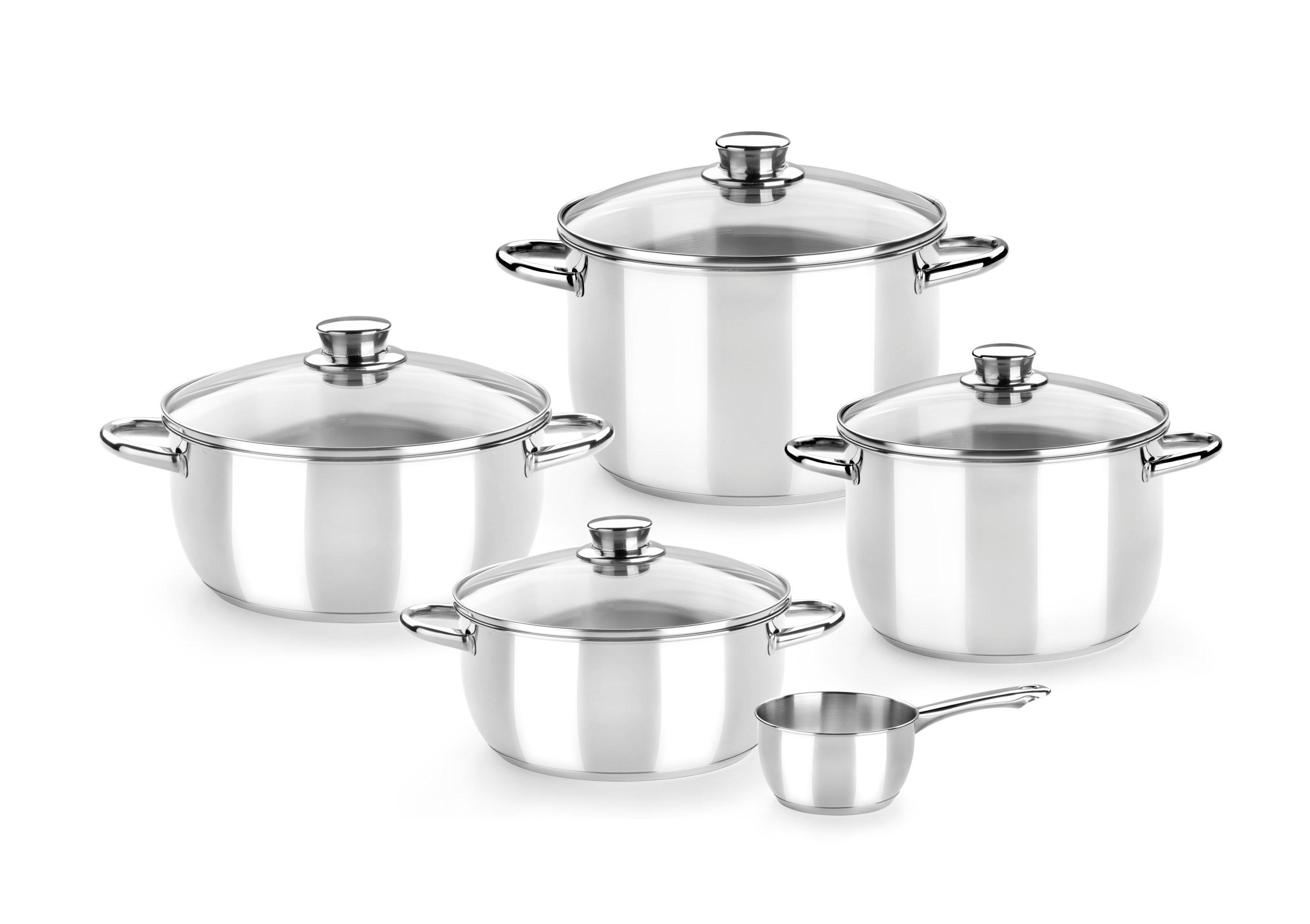 Monix Optima - Menaje 5 Piezas de Acero Inoxidable 18/10, Apta para Todo Tipo de cocinas incluídas de inducción