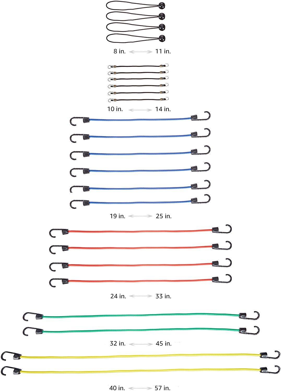 Basics Bungee Cord Rubber Elastic Assortment 24 Pack