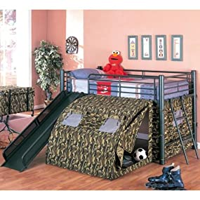 Coaster Home Furnishings Kids Camo Tent Twin Loft Bunk Bed With Slide