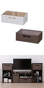アイリスオーヤマ ボックス インナーボックス 幅45.8×奥行26.8×高さ15.9cm ブラウン FIB-M46