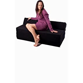 El sillón de colchón Plegable para Invitados con Forma de sillón sofá Cama Plegable con colchón de la Cama, Schwarz -0001, 200cm Lang