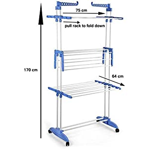 AMarks Carbon Steel Full Size Heavy Duty Double Pole 3 Layer Cloth Drying Stand