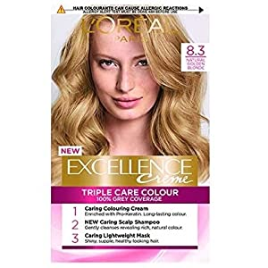 LOreal, Tinte permanente para el cabello, 8.3 rubio dorado natural