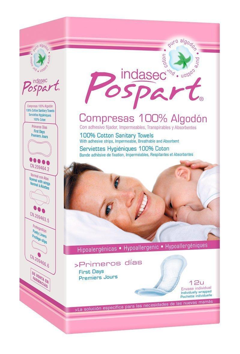 Indasec Pospart Compresas Tocológicas Algodón - 12 Unidades: Amazon.es: Salud y cuidado personal