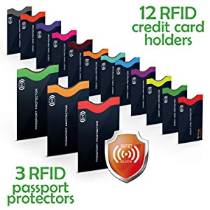 RFID Blocking Sleeves, Set with Color Coding.