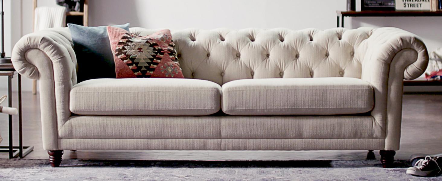 Amazon Com Stone Amp Beam Bradbury Chesterfield Tufted Sofa