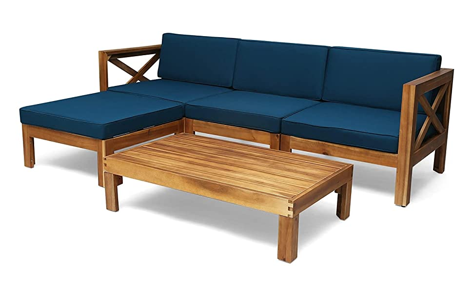 Dark Gray Teak Finish Christopher Knight Home 313578 Keith Outdoor Acacia Wood 3 Seater Sofa