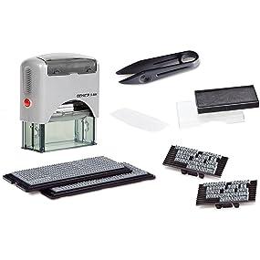 Genie S-884 - Sello autoentintable (5 líneas personalizables, incluye accesorios y almohadillas), color plateado y negro: Amazon.es: Oficina y papelería