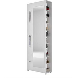 BRV Moveis Shoe Case With Mirror, White - H 188 cm x W 67.5 cm x D 25 cm