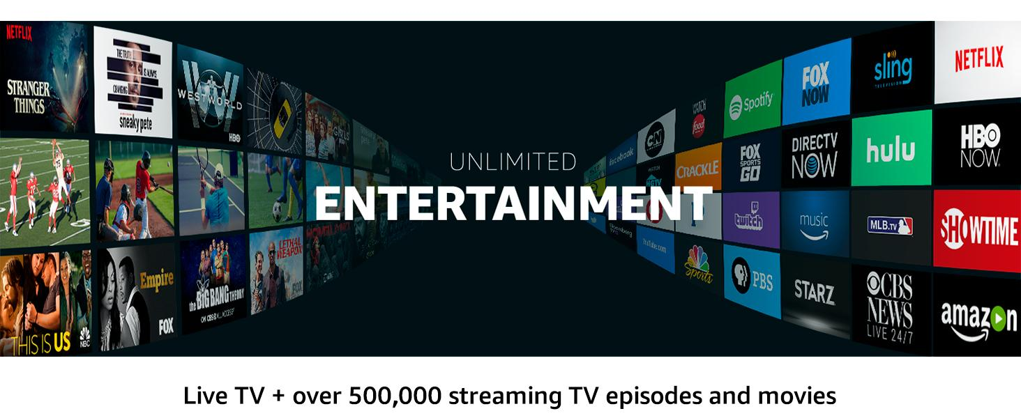 Access live TV and over 300,000 streaming TV episodes and movies.