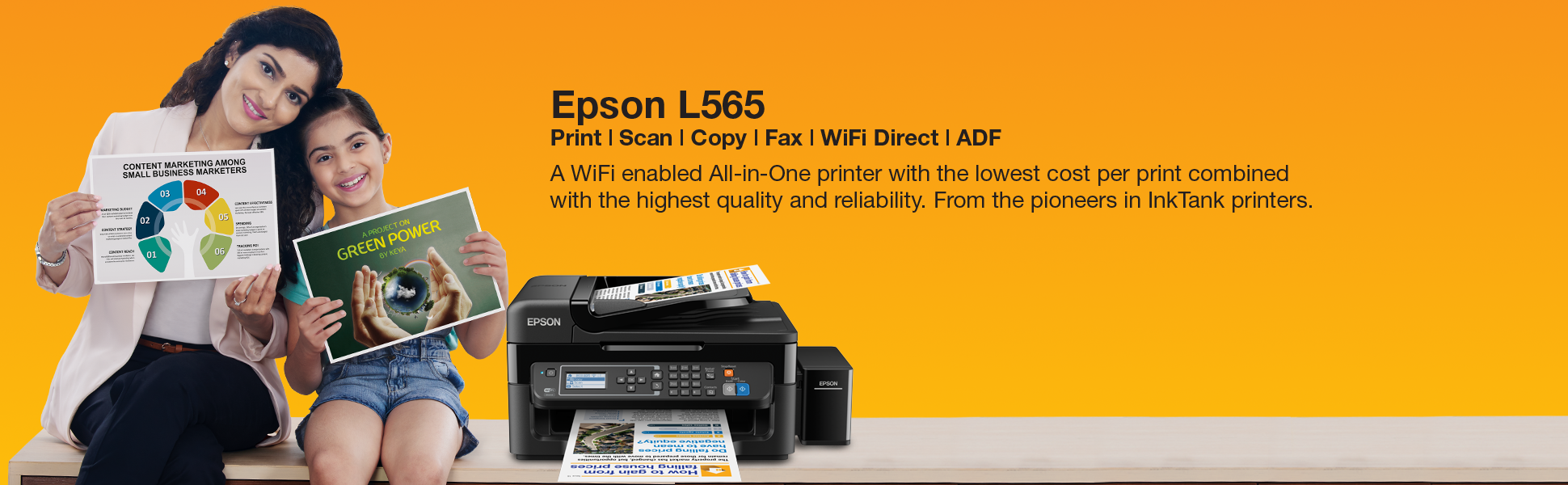 Epson L565 Wi-Fi All-in-One Ink Tank Printer,Fax,Scan,Copy,Print