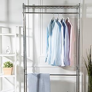 AmazonBasics - Perchero de ropa de doble barra con ruedas