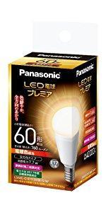 パナソニック LED電球 プレミア 口金直径17mm 電球60W形相当 電球色相当(7.7W) 小型電球・全方向タイプ 1個入 密閉形器具対応 LDA8LGE17Z60ESW
