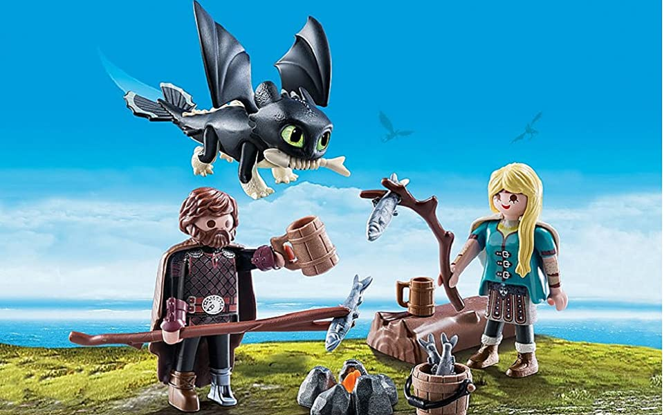 PLAYMOBIL DreamWorks Dragons Hiccup /& ASTRID con Baby Set da Gioco Dragon 70040
