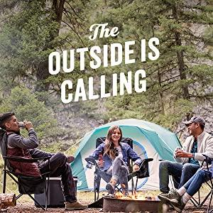 The Outside is Calling logo. Friends camping