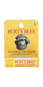 Burt's Bees Lip Balm, Beeswax Original with Vitamin E and Peppermint