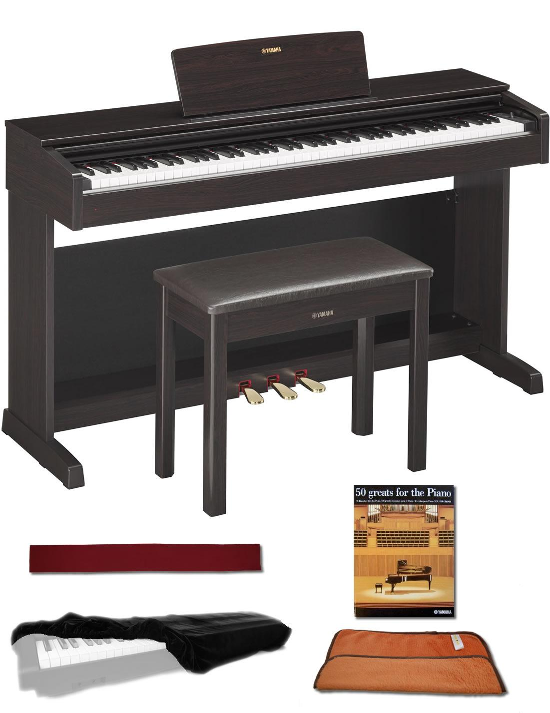 yamaha ydp143r rosewood 88 weighted keys digital piano keyboard bundle with matching. Black Bedroom Furniture Sets. Home Design Ideas