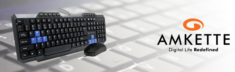 Amkette Xcite Neo Wired Multimedia Keyboard and Mouse