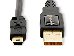 Black A-Male to Mini-B USB 2.0 Cable 0.9 Meters 3 Feet
