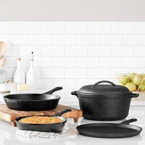AmazonBasics Pre-Seasoned Cast Iron 5-Piece Kitchen Cookware Set