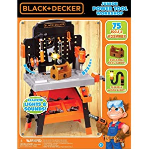 Stupendous Decker Power Tool Workshop Play Toy Workbench For Kids With Drill Miter Saw And Working Flashlight Build Your Own Tool Box 75 Realistic Toy Ibusinesslaw Wood Chair Design Ideas Ibusinesslaworg
