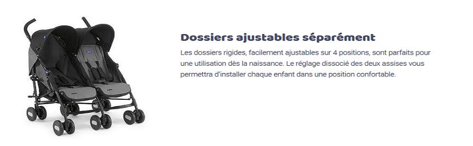 Poussette Double Chicco Coal Echo Dossiers Ajustables S/épar/ément