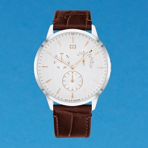 Tommy Hilfiger Brooklyn Men's Grey Dial Leather Band Watch - 1791509