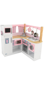 Amazon Com Kidkraft 53424 Countryside Play Kitchen Play Wooden Pretend Play Toy Kitchen For Kids With Ice Maker And Role Play Accessories Included Ez Kraft Assembly Toys Games