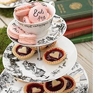 v /& a alice tea set teapot//3 tier cake stand//sugar bowl//milk jug//2 cups//saucers