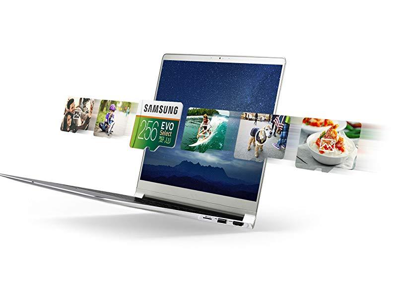 Samsung MicroSDXC EVO Select Memory Card floating over a laptop with video frames