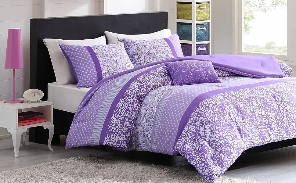 Amazon.com: Mi Zone Riley Comforter Set Full/Queen Size   Purple