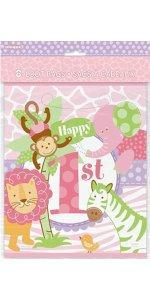 Jumbo Plastic Pink Safari First Birthday Gift Bag Wrapping Paper