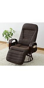 山善 YAMAZEN オットマン付き回転籐座椅子 レバー式リクライニング RFC-65OT