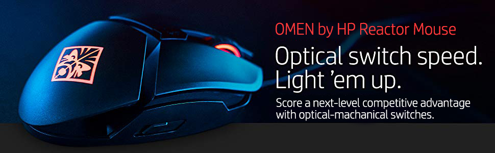 HP OMEN Reactor 16000 DPI RGB Gaming Mouse with Optical Mechanical Switch  1000 Hz Polling Rate Adjustable Palm Rest & Metal Cable (2VP02AA)