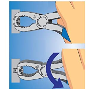 つぶれたネジの頭をつかみ、回してネジを外すことができる