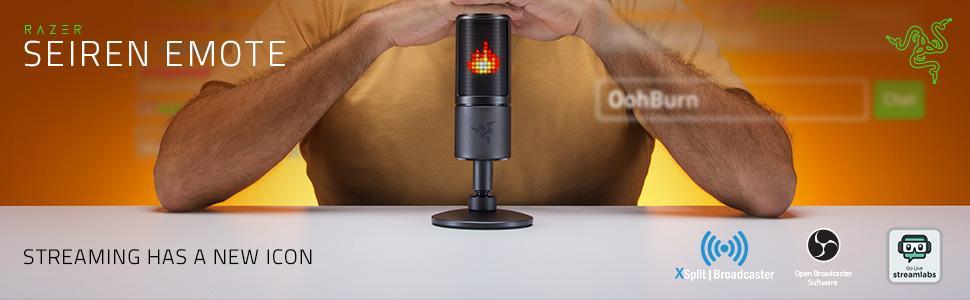 Razer Seiren Emote Streamer Broadcaster USB Condenser Microphone Twitch Mixer