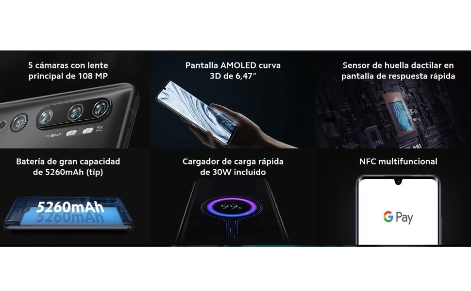 Xiaomi Mi Note 10 Pro – Smartphone con Pantalla AMOLED Curva 3D de ...