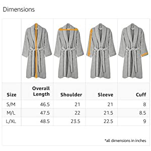 f61674dfeb Dimension Guide. See how each size of robe measures up to ...