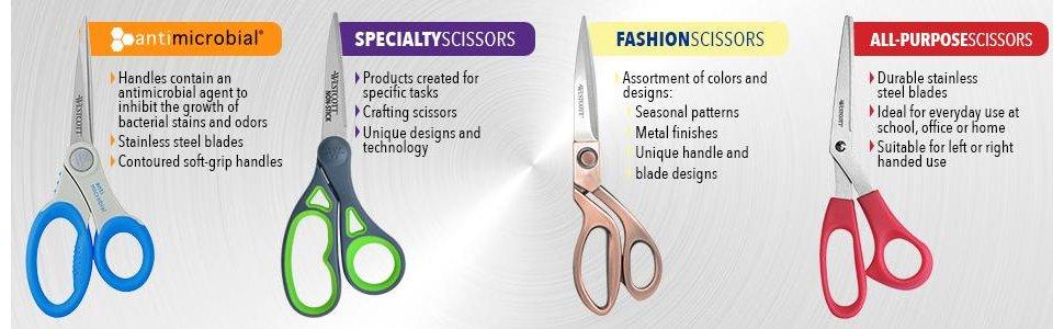 "Assorted Colors 3-Pack Westcott 8/"" Bent All-Purpose Scissors"
