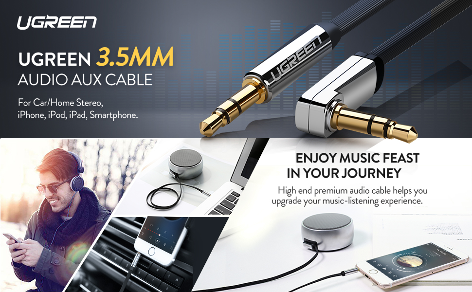UGREEN 3.5mm Auxiliary Audio Jack to Jack Cable 90 Degree Right Angle Compatible for iPhone, iPod
