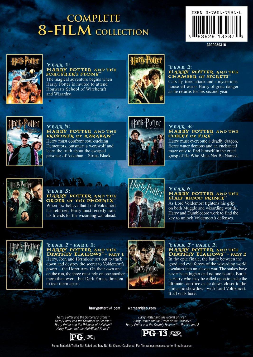 Harry Potter Book Lengths : Amazon harry potter the complete film collection