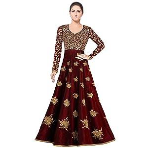 e114ce80e1f Siddeshwary Fab Women s Bangalore Silk Anarkali Gown (Red  semi ...