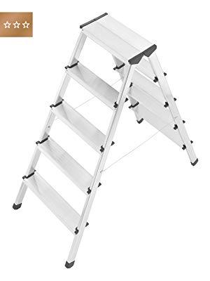 Hailo 600275000 Escalera de aluminio con 2x5 peldaños y cables de acero de refuerzo: Amazon.es: Bricolaje y herramientas