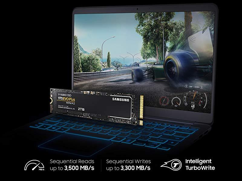 Samsung 970 EVO Plus Series sequential reads up to 3,500 MB/s and writes up to 3,300 MB/s