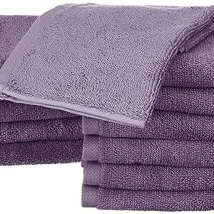 AmazonBasics - Toallas de algodón, 12 unidades, Lavanda: Amazon.es ...
