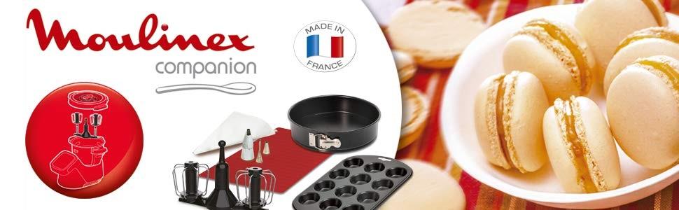Moulinex XF389010 Accesorios Cuisine Companion, kit repostería, varillas de doble rotación, manga pastelera, espátula, molde 12 muffins, tapete ...